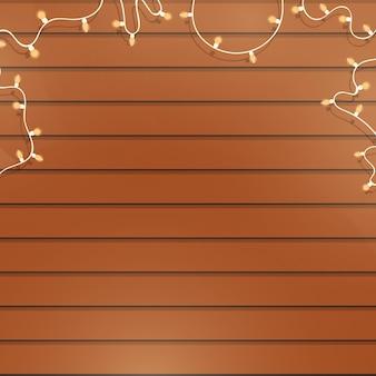 Holzhintergrund mit girlanden