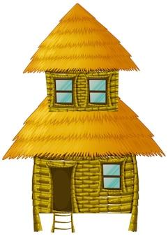 Holzhütte mit zwei stockwerken