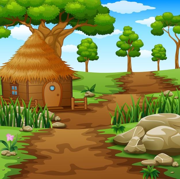 Holzhütten auf dem feld