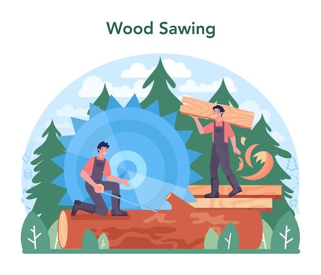 Holzindustrie und holzproduktion holzeinschlag und holzbearbeitung