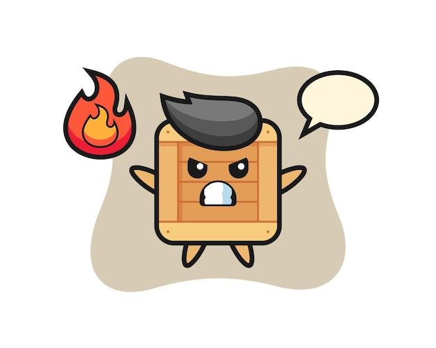 Holzkiste-charakter-cartoon mit wütender geste, süßes design für t-shirt, aufkleber, logo-element