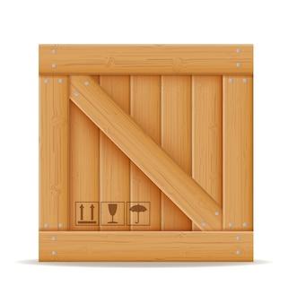 Holzkiste für die lieferung und den transport von waren gemacht von der holzkarikaturillustration lokalisiert auf weißem hintergrund