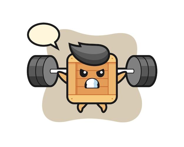 Holzkiste-maskottchen-cartoon mit einer langhantel, süßes design für t-shirt, aufkleber, logo-element