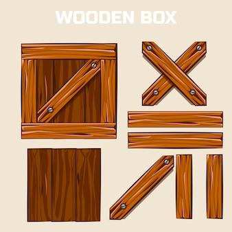 Holzkiste und bretter