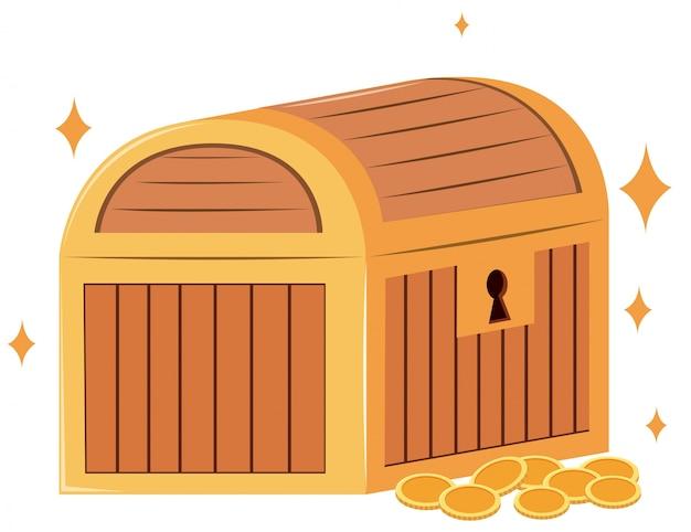 Holzkiste und goldmünzen