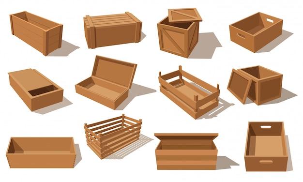 Holzkisten, pakete für warenverpackungspaletten und leere transportbehälter. holzschubladen und kisten, frachtverteilungspakete. isometrische versandkartons für fracht