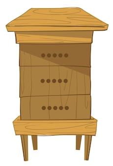 Holzkonstruktion eines langstroth-beutens für bienen zur lagerung und aufbewahrung von honig und pollen. isolierte landwirtschaft und imkerei-ausrüstung für insekten. box mit sechseckigen bienenstöcken und zellen. vektor im flachen stil