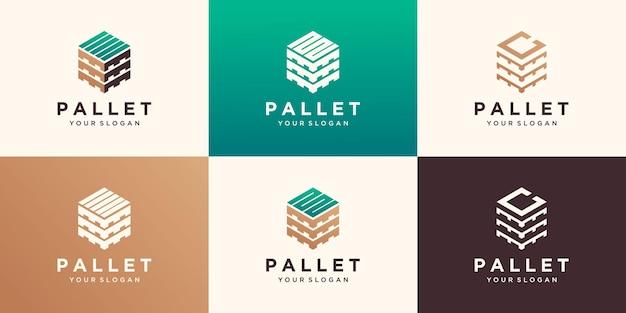 Holzpaletten mit sechskant-holzschablonen. moderne einfach zu bearbeitende logo-vorlage.