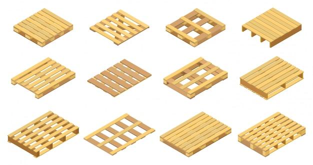 Holzpalettenillustration auf weißem hintergrund. isolierte isometrische satzikone holzbehälter. isometrische satzikone holzpalette.