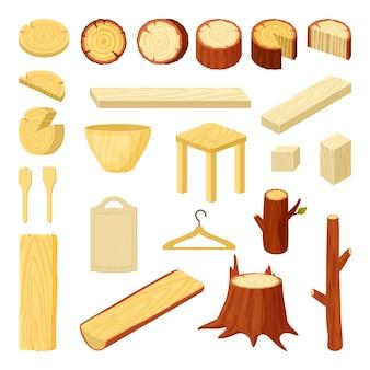 Holzprodukte. äste stämme stümpfe bretter