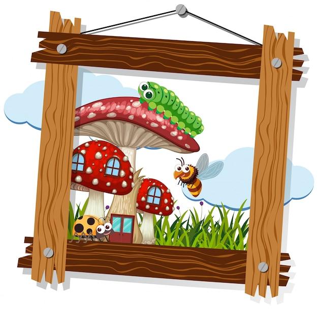 Holzrahmen mit wanzen auf pilzhaus