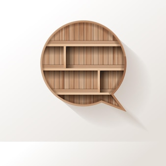 Holzregal der sprechblase kreatives design