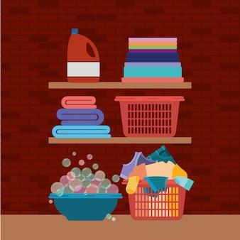 Holzregale und elemente von reinigungsartikeln