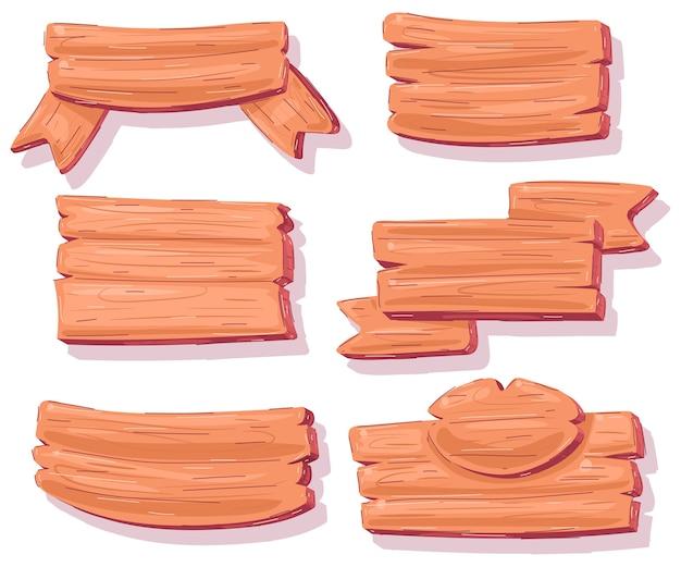 Holzschild cartoon-set