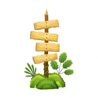 Holzschild im dschungelregenwald mit tropischen blättern und raum für text. karikaturspielillustration. anzeigenrahmengestaltung. altes brett verziert lässt liane