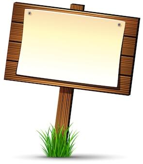 Holzschild mit papierrolle
