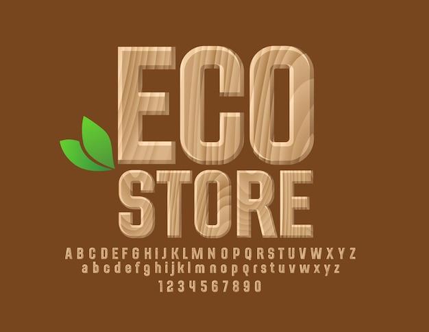Holzschild mit text eco store satz alphabetbuchstaben zahlen und satzzeichen