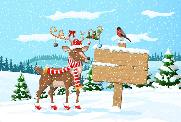 Holzschild rentier, winterlandschaft mit kiefernwald bullfinch schneefall. winterlandschaft mit tannenwald und schnee. neujahrsfeier weihnachtsfeiertag.