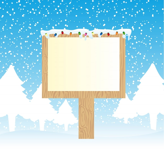 Holzschild über schnee mit hellem vektor der frohen weihnachten