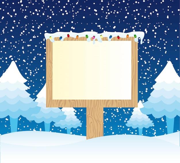 Holzschild über winterlandschaftsvektorillustration