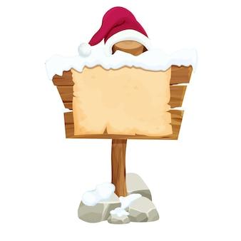 Holzschild und pergamentpapier leerer weihnachtsbrief mit weihnachtsmütze im cartoon-stil