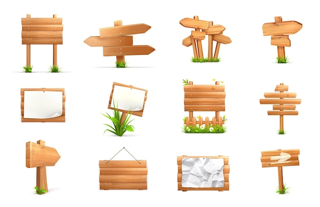 Holzschilder. 3d vektorsatz