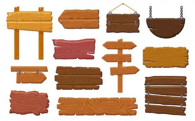Holzschilder. rustikales hölzernes schild der weinlese, hängende salon-leere holzwerbetafel, wegweiser-illustrationssatz der straßeninformation. holzbrett, plakatrahmen schild