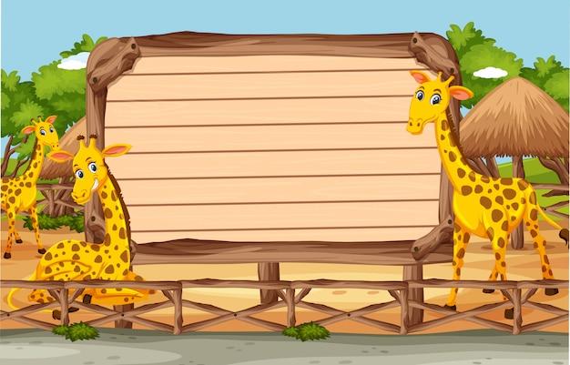 Holzschildvorlage mit giraffen im park