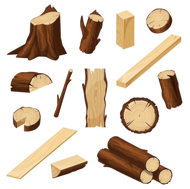 Holzset mit holzstämmen, gehackten baumstämmen