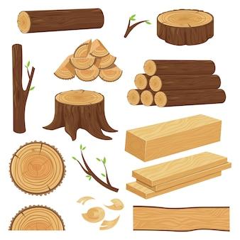 Holzstämme. gestapeltes schnittholzmaterial, stammzweig und brennholzholzzweige. baumstumpf, alte hölzerne planke lokalisierte karikatursatz