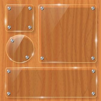 Holzstruktur mit glasrahmen. illustration