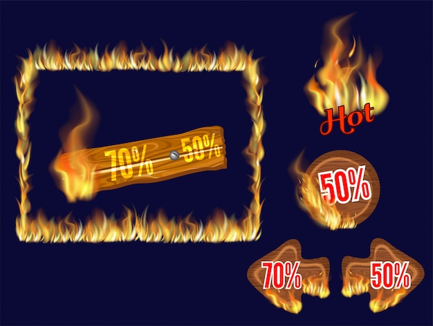 Holztafeln der heißen tour mit flammenbrand