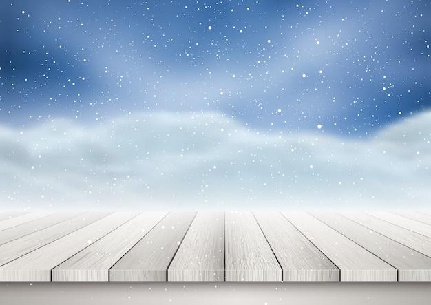 Holztisch, der heraus zu einer schneebedeckten landschaft schaut