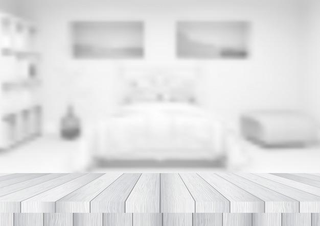 Holztisch mit blick auf ein defokussiertes schlafzimmer