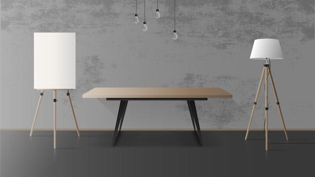 Holztisch mit schwarzem metallfuß. leerer tisch, hölzerne staffelei, stehlampe, grau, betonwand. illustration