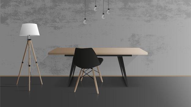 Holztisch mit schwarzem metallfuß. schwarzer sessel. leerer tisch, graue betonwand, stehlampe mit holzbeinen. illustration