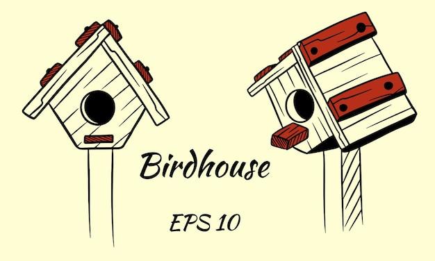 Holzvogelhaus für vögel. isoliert