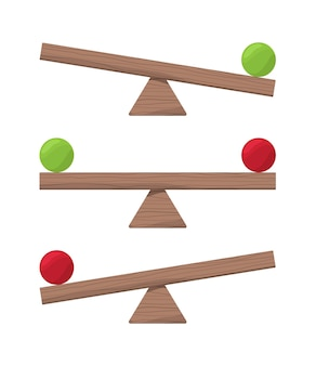 Holzwippe. balance-skala oder equilibrio-elemente vektorgrafiken. boardbalance-gleichheit, skalieren und vergleichen totter, swing wippe