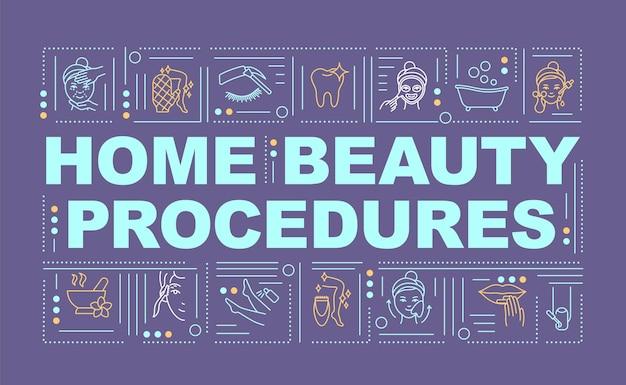 Home beauty prozeduren wort konzepte banner. schöne nägel gemacht. infografiken mit linearen symbolen auf orangefarbenem hintergrund. baby fußbehandlung. isolierte typografie. umriss rgb farbabbildung