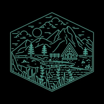 Home camping natur abenteuer wild line abzeichen patch pin grafik illustration