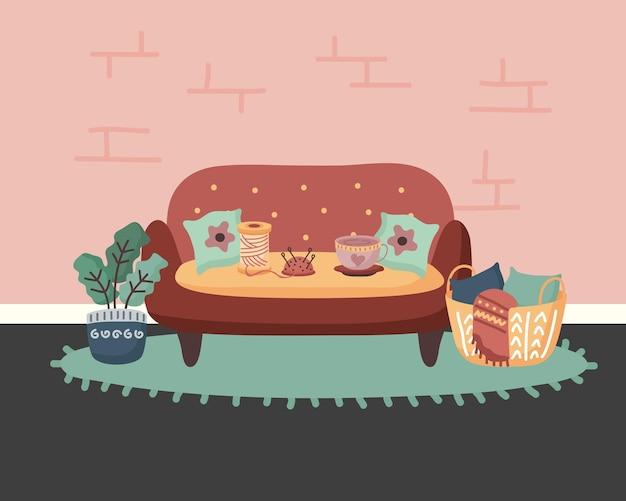 Home couch pflanze und korb design, raum und dekoration thema illustration