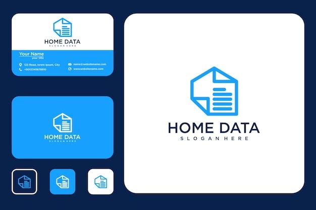 Home data line art logo-design und visitenkarte
