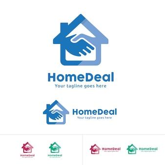 Home deal logo, home trade company identität, haus mit hand schütteln symbol