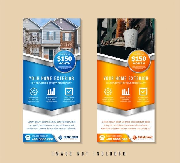 Home exterieur social media stories vorlage mit abwärtspfeil kombination aus blauem und orangefarbenem verlaufshintergrund