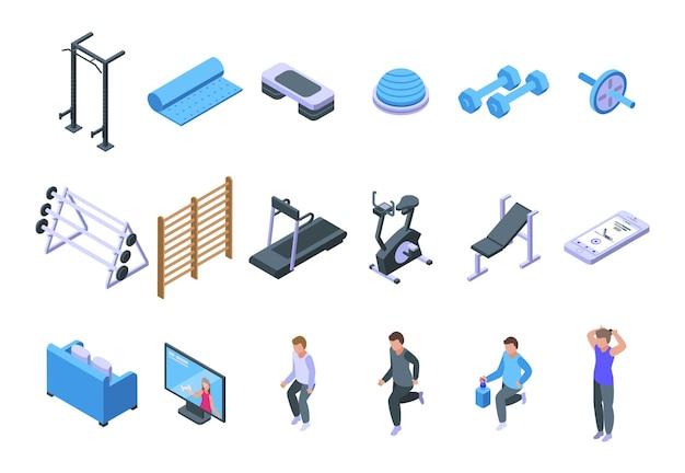 Home-fitnessstudio-symbole gesetzt. isometrischer satz von heim-fitnessstudio-vektorsymbolen für webdesign isoliert auf weißem hintergrund