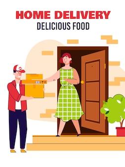 Home food delivery banner mit liefermann vor der haustür