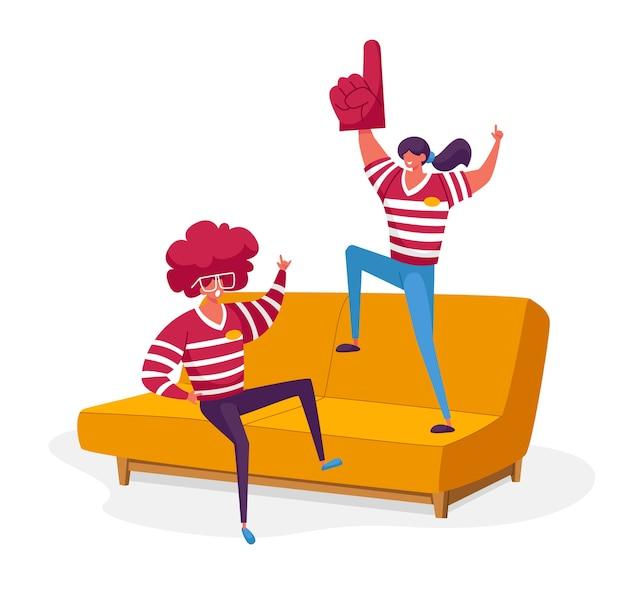 Home fun party freunde charaktere unternehmen zeit miteinander verbringen fußball gucken im fernsehen