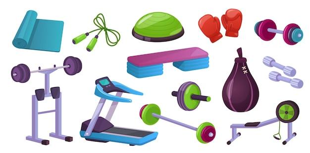 Home gym fitnessgeräte sporttraining trainingsmaschinen gymnastikball hanteln yogamatte vektor