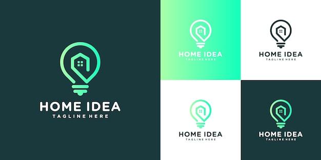 Home idee logo. glühbirne und haus mit strichzeichnungen.