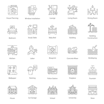Home interior line icons pack